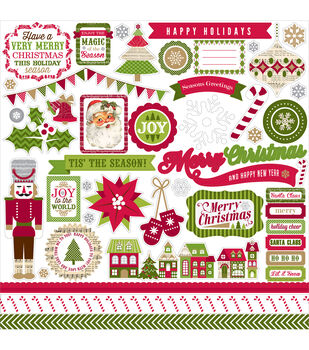 "Home For The Holidays Cardstock Stickers 12""X12""-Element"