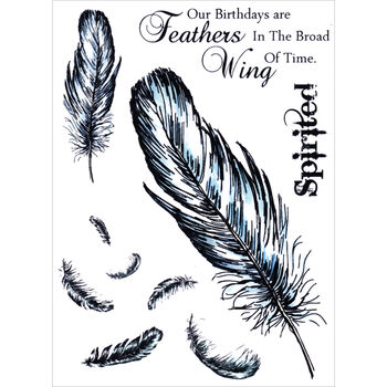 Sheena's A Little Bit Sketchy EZMount Stamp Set Falling Feathers