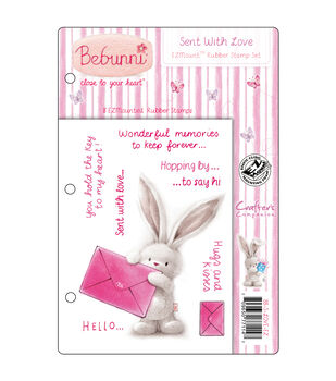 Crafter's Companion Bebunni EZMount Cling Stamp Set Sent With Love