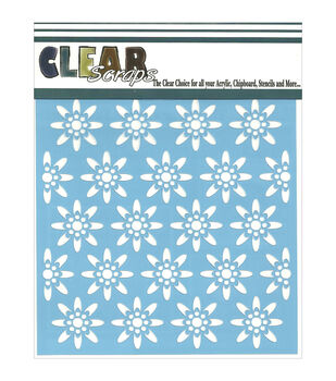 "Clear Scraps Stencils 6""X6""-Seamless Floral #1"