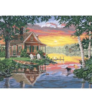 Dimensions Paint By Number Kit 20X16-Sunset Cabin