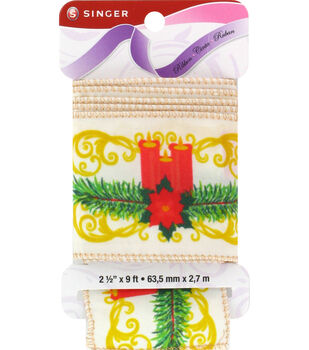 "Singer Holiday Centerpiece Satin Ribbon - 2 1/2"" x 9ft."