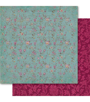 Ruby Rock-It Heritage Pretty Floral Double-Sided Cardstock