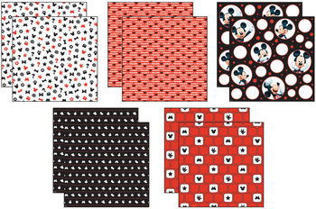 """Disney Mickey Black/White/Red Paper Pack 12""""X12"""" 10 Sheets-2 Each/5 Textured Papers"""
