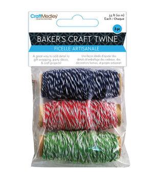 Baker's Twine 33ft 3 Spools/Pkg-Vivid