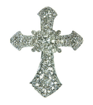 Laliberi Rhinestone Pin - Cross in Silver