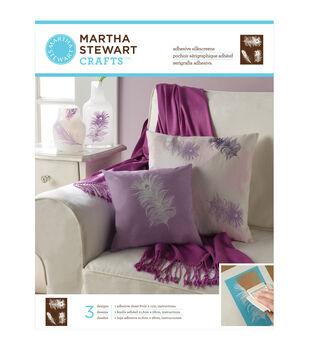 "Martha Stewart Adhesive Silkscreen 8-1/2""X11"" 1 Sheet/Pkg-Peacock Feathers 3 Designs"