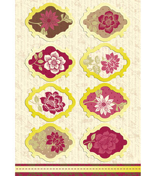 Kanban Shabby Chic Die-Cut Punch-Out-Vintage Flowers Ruby/Ivory