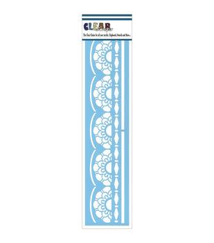 "Clear Scraps Border Stencils 3""X12""-Lace Doily"