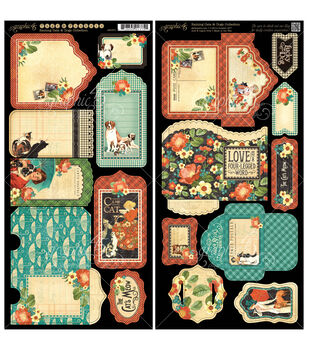 """Raining Cats & Dogs Cardstock Die-Cuts 6""""X12"""" Sheets 2/Pkg-Tags & Pockets"""