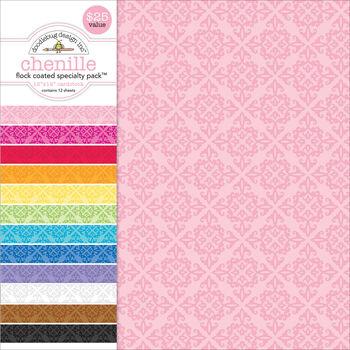 Doodlebug Flocked Chenille Specialty Cardstock Value Pack 12''x12''