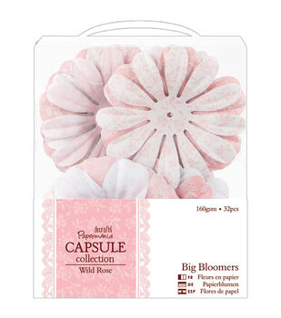 "Papermania Wild Rose Big Bloomers Paper Flowers 3"" 32/Pkg-"