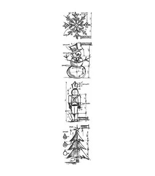 Stampers Anonymous Mini Christmas Blueprints Strip Cling Stamps