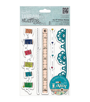 """Papermania Sew Lovely Urban Stamps 5""""X7""""-Trim Borders"""