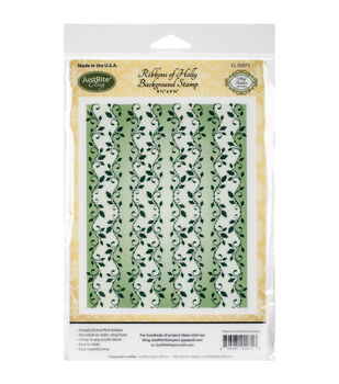 """JustRite Papercraft Cling Background Stamp 4.5""""X5.75""""-Ribbons Of Holly"""