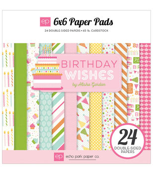 Echo Park Paper Company Birthday Wishes Girl Double-Sided Paper Pad