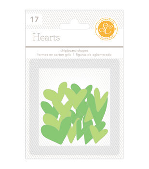 Essentials Chipboard Shapes Hearts 17/Pkg