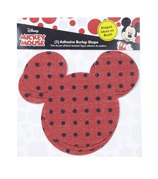 Disney Mickey Mouse Ears Adhesive Printed Burlap Smal