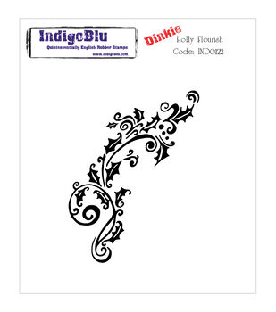 IndigoBlu Holly Flourish Dinkie Cling Mounted Stamp
