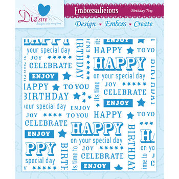 Crafter's Companion Embossalicious Embossing Folders Birthday Text