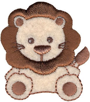 Wrights Especially Baby Iron-On Appliques-Tan/Brown Lion 1/Pkg