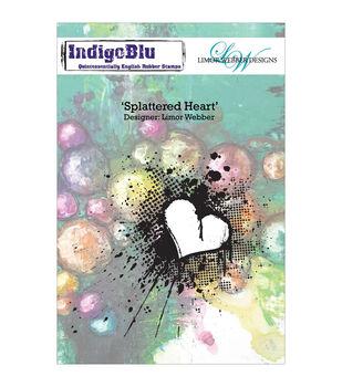 Indigoblu Splattered Heart Cling Mounted Stamp