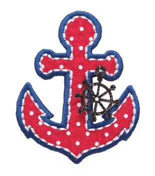 Simplicity Iron-On Applique-Anchor W/Ship's Wheel Charm
