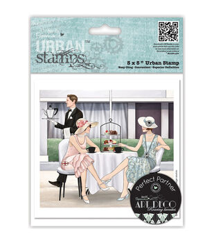 "Papermania Art Deco Urban Stamps 5""X5""-Afternoon Tea"