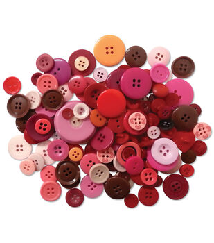 Button Embellishment Fashion Dyed Buttons 60g-Reds