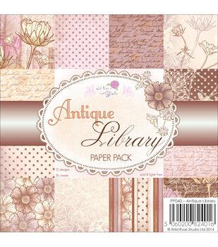"""Wild Rose Studio Ltd. Paper Pack 6""""X6"""" 36/Pkg-Antique Library"""