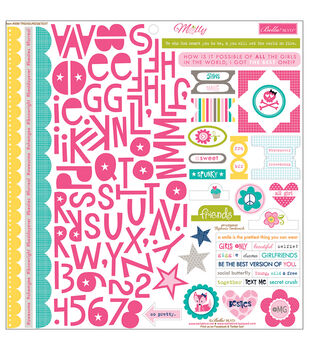"Molly Cardstock Stickers 12""X12""-Treasures & Text"