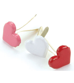 Creative Impressions Painted Metal Paper Fasteners 50PK-Red/White/Pink-Hearts