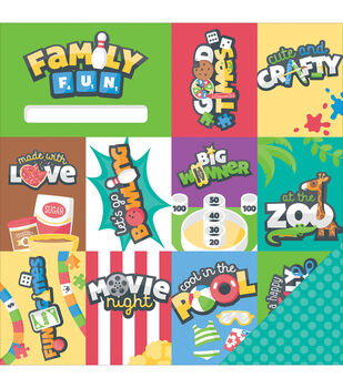 Imaginisce Family Fun Good Times Double-Sided Cardstock