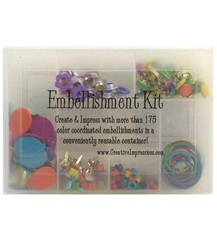 Embellishment Kits W/Brads, Eyelets & Clips, 175 Pc