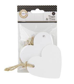 White 10Pk-Tags & Ties Heart