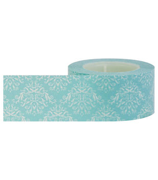 Little B Decorative paper Tape 25mmx15m-Damask Blue & White