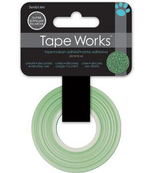 "Tape Works Glitter Tape .5""X30'-Solid Green"