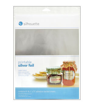 "Silhouette Printable Adhesive Foil 8.5""X11"" 8/Pkg-Silver"