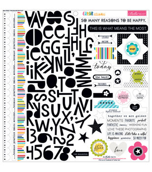 Bella Blvd Color Chaos Treasures & Text Cardstock Stickers