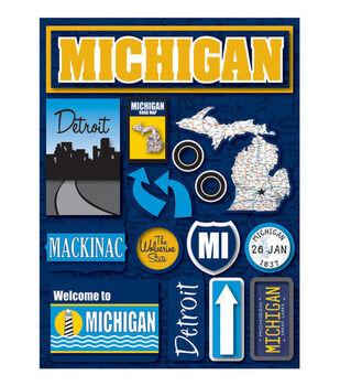 Reminisce Dimensional Stickers-Michigan
