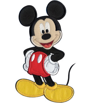 "Disney Iron On Applique-Mickey Mouse 3-1/4""X5-1/2"" 1/Pkg"