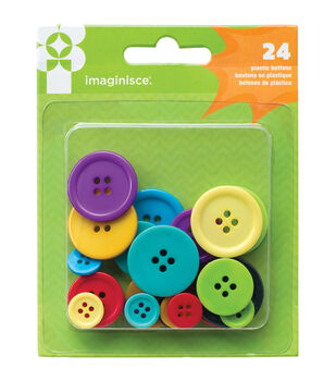 Family Fun Plastic Buttons 24/Pkg-