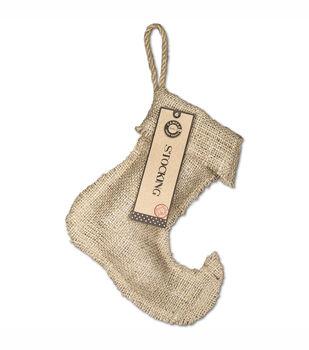 "Burlap Small Jester Stocking 8.25""X9""-"