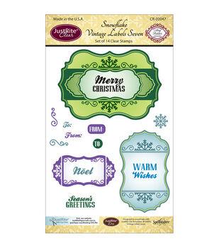"JustRite Papercraft Clear Stamp Set 4""X6""-Snowflake Vintage Labels Seven 14pc"
