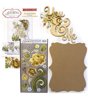 Adorn-It Art Play You & Me MDF Word Plaque With Words Kit