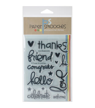 """Paper Smooches 4""""X6"""" Clear Stamps-Bold Buzzwords"""