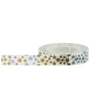 Little B Decorative paper Tape 8mmx15m-Silver & Gold Stars