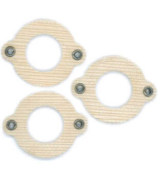 Cardstock Mini Frames 3/Pk-Sand/Round With Eyelets