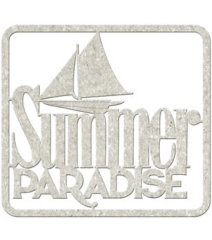 "Die-Cut Gray Chipboard Word-Summer Paradise 4""X3.5"""