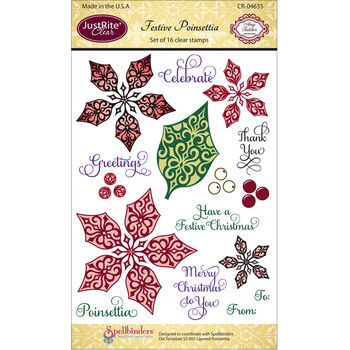 Poinsettia-justrite Clear Stamp